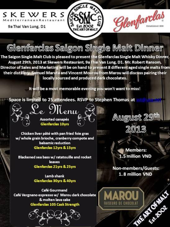 Glenfarclas single malt whiskey dinner2
