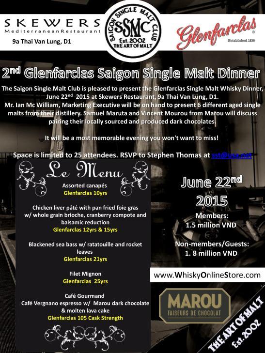 Glenfarclas single malt whiskey dinner 2015